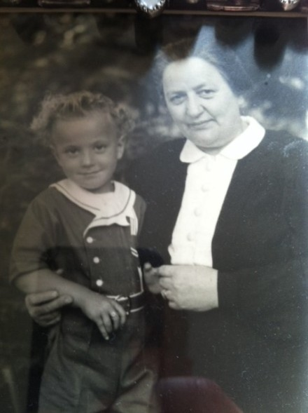 This is a photo of my great-grandmother and my father prior to arriving in the United States.