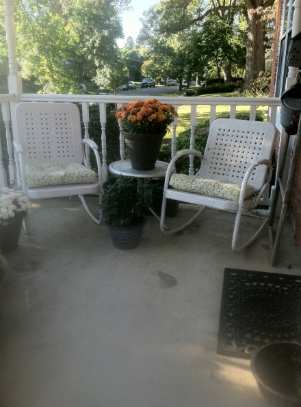 My not so fancy, vintage metal, lawn chairs.